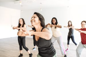 A group of women in an exercise class.