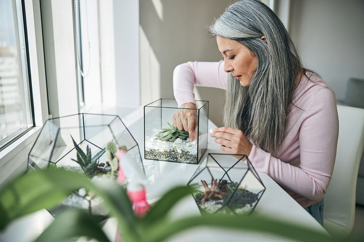 Woman putting stones into glass succulent terrarium